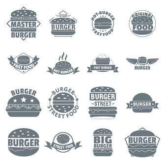 Zestaw ikon logo burger