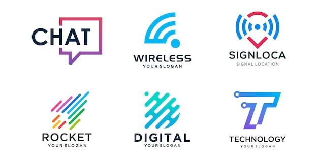 Zestaw ikon logo firmy innowacyjnej technologii.