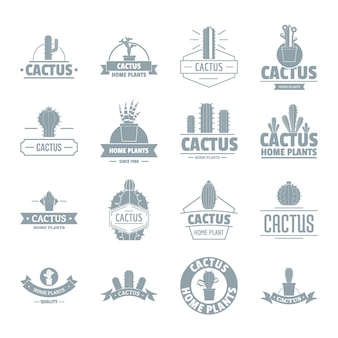 Zestaw ikon logo kaktusa
