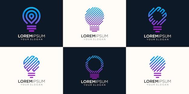 Zestaw ikon logo kreatywnych lampy tech logo.