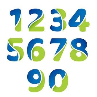 Zestaw Ikon Logo Liczb. Premium Wektorów