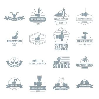 Zestaw ikon logo narzędzia ręczne