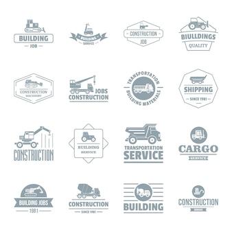 Zestaw ikon logo pojazdów budowlanych