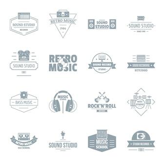 Zestaw ikon logo studio muzyczne