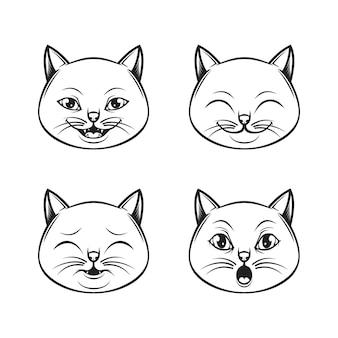 Zestaw ikon logo wyrażenie kot