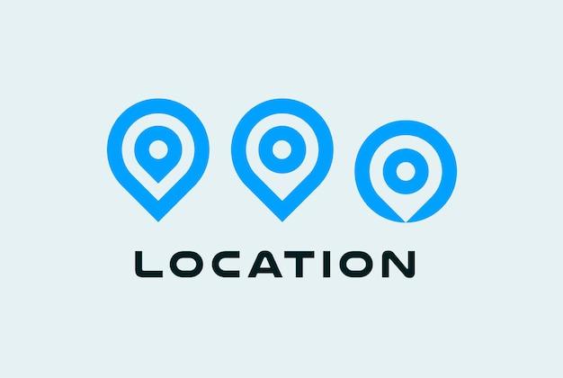 Zestaw ikon lokalizacji okrągłe symbole pinów miejsce wskaźnik niebieski płaski minimalistyczny styl koncepcja logo dla mapy