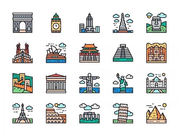 Zestaw ikon lokalizacji podróży landmark płaski kolor linii. egipt, włochy i nie tylko.