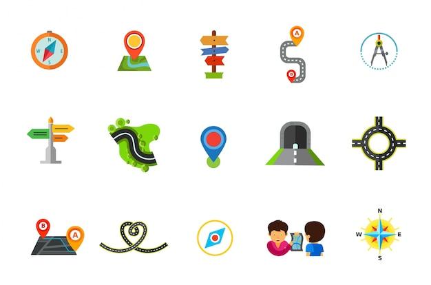 Zestaw ikon lokalizacji