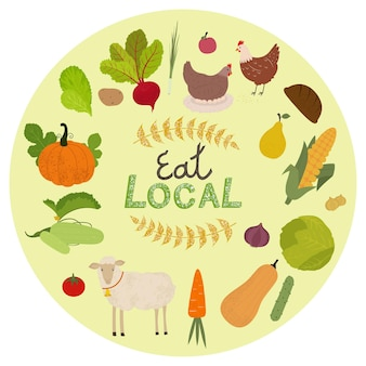 Zestaw ikon lokalnej produkcji ekologicznej. zwierzęta gospodarskie, owoce i warzywa na białym tle ilustracja.