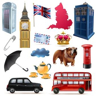 Zestaw ikon londyn anglia