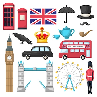 Zestaw ikon londynu z różnymi rozpoznawalnymi budynkami i środkami transportu