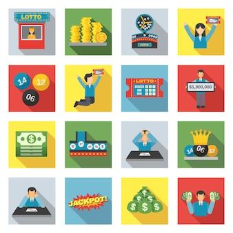 Zestaw ikon loterii płaskie