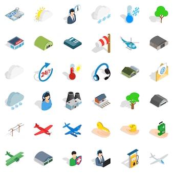 Zestaw ikon lotnictwa, styl izometryczny