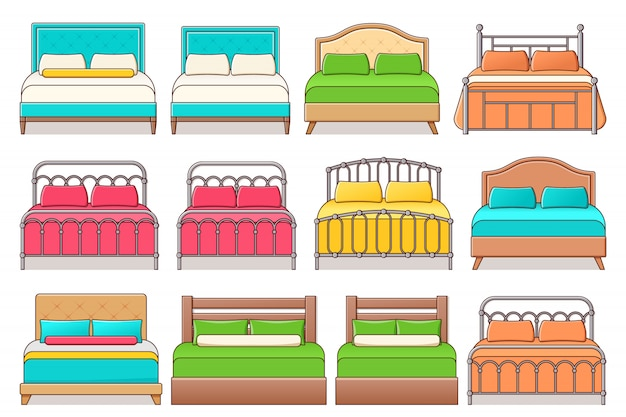 Zestaw ikon łóżka