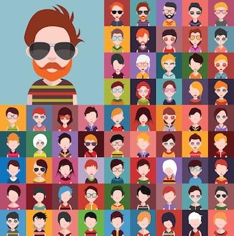 Zestaw ikon ludzi, awatarów w płaski z twarzami