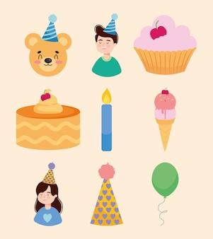 Zestaw ikon ludzi i urodzin