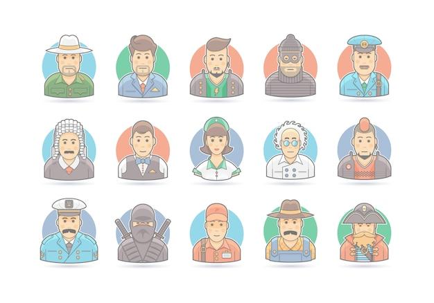Zestaw ikon ludzi kreskówek. ilustracja postaci. na białym.