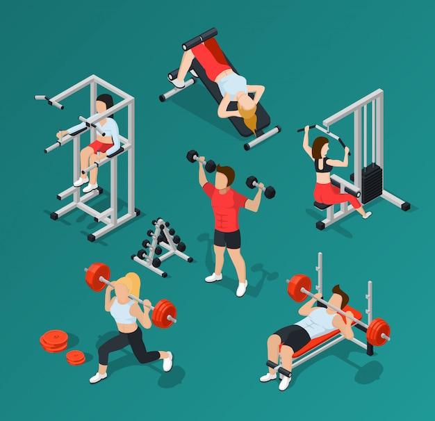 Zestaw ikon ludzi siłowni