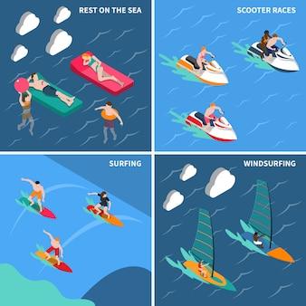 Zestaw ikon ludzi sportów wodnych