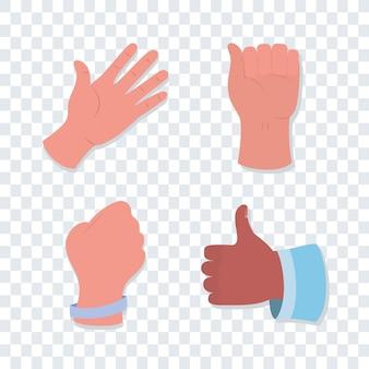Zestaw ikon ludzkich rąk
