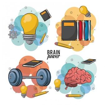 Zestaw ikon ludzkiego mózgu