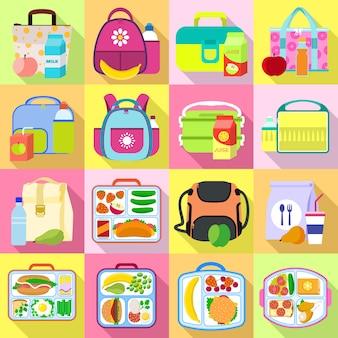 Zestaw ikon lunchbox. płaski zestaw wektor lunchbox