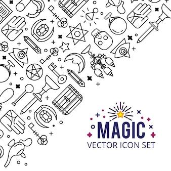 Zestaw ikon magii. skrzyć magiczne światła. tajemniczy cud