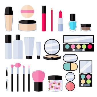 Zestaw ikon makijażu. ilustracja.