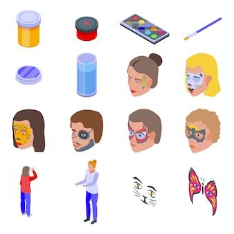 Zestaw ikon malowania twarzy