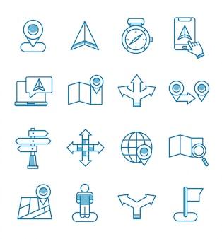 Zestaw ikon mapy nawigacyjnej w stylu konspektu.