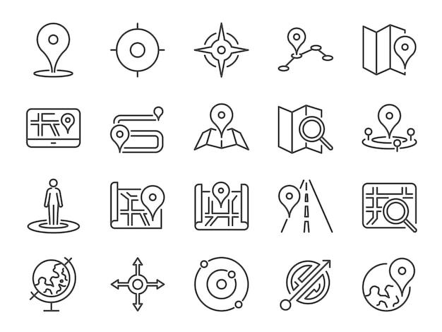Zestaw ikon mapy.