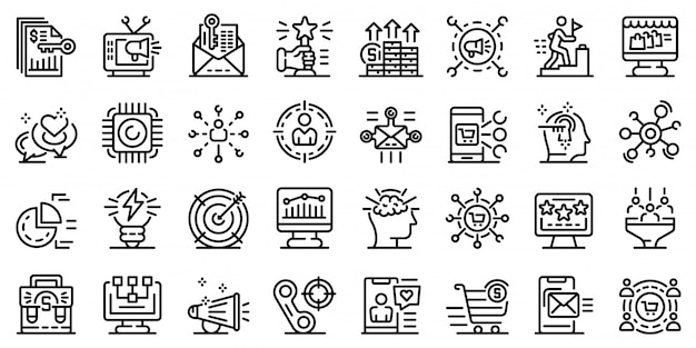 Zestaw ikon marketer, styl konturu