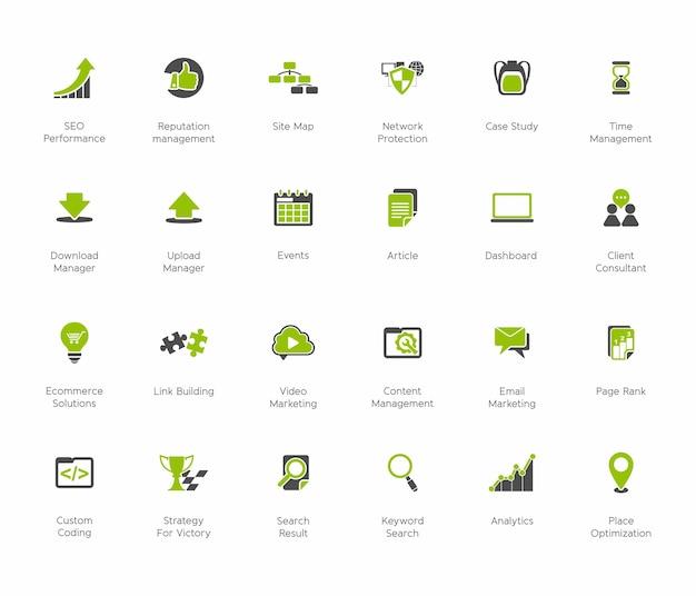 Zestaw ikon marketingu internetowego seo