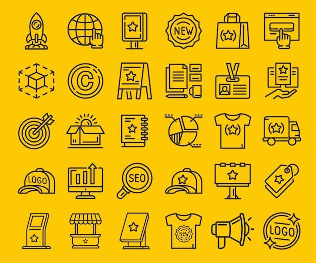 Zestaw ikon marki cienka linia