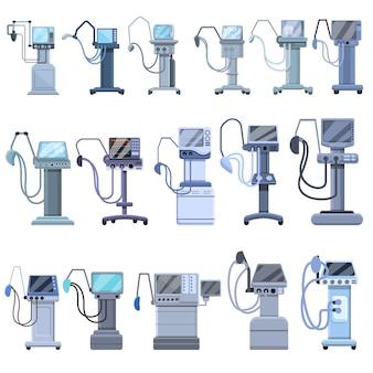 Zestaw ikon maszyny medyczne respiratora. kreskówka zestaw ikon maszyny medycznej respiratora dla sieci web