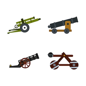 Zestaw ikon maszyny szturmowej. płaski zestaw kolekcja ikon wektor atak maszyny na białym tle