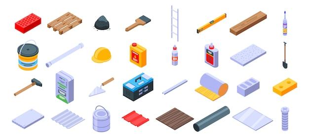 Zestaw ikon materiałów budowlanych, izometryczny styl