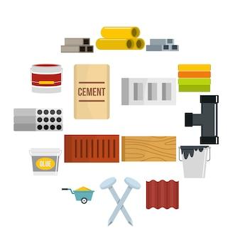 Zestaw ikon materiałów budowlanych w stylu płaskiej