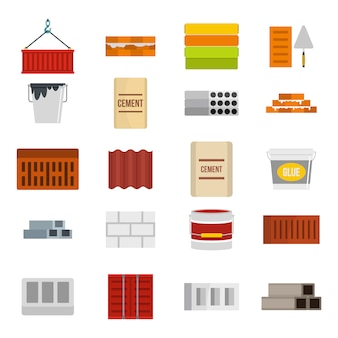 Zestaw ikon materiałów konstrukcyjnych. płaski zestaw construcion materiału ikony wektor zbiory na białym tle