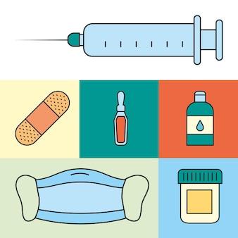 Zestaw ikon materiałów medycznych