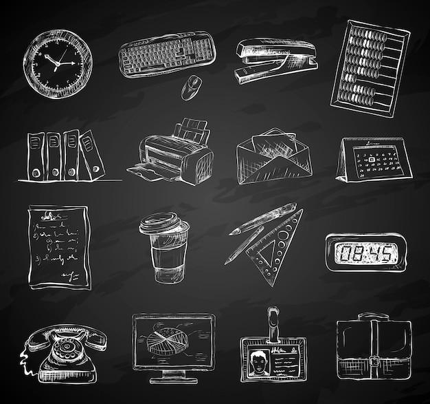 Zestaw ikon materiały biurowe materiały biurowe