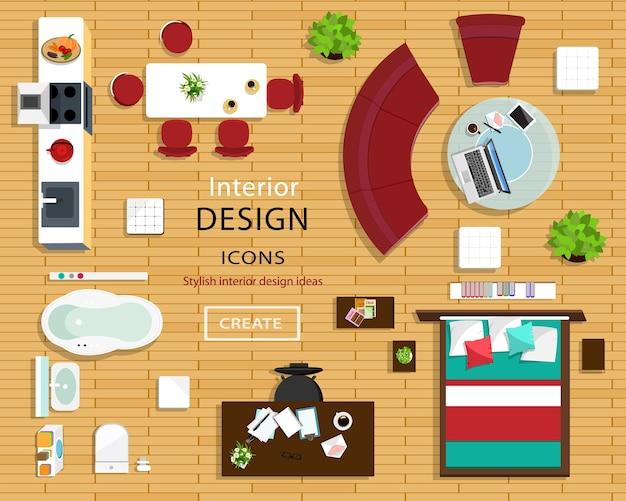 Zestaw ikon mebli do wnętrz pokoi. widok z góry ikon wnętrza: sofa, krzesła, stół, łóżko, szafki nocne, fotele, doniczki, kuchnia i łazienka. ilustracja.