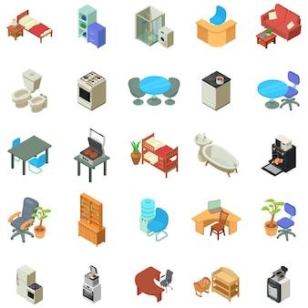 Zestaw ikon mebli domowych