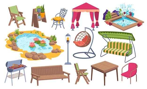 Zestaw ikon mebli ogrodowych na świeżym powietrzu, staw wodny, miejsce do grillowania