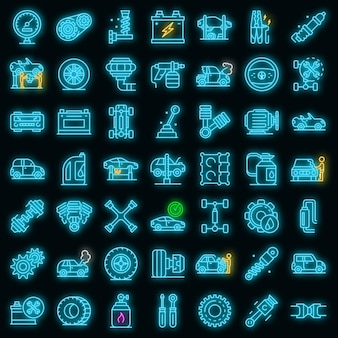 Zestaw ikon mechanik samochodowy. zarys zestaw ikon wektorowych mechanik samochodowy neon kolor na czarno