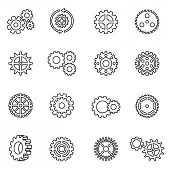 Zestaw ikon mechanizmu przekładni. styl wektor cienka linia.