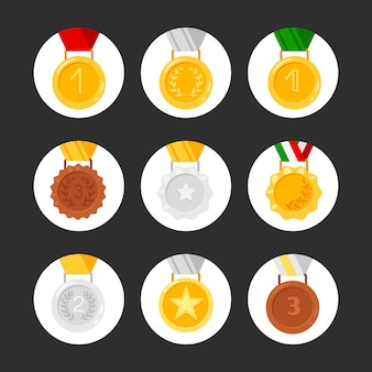 Zestaw ikon medali. złote, srebrne, brązowe nagrody