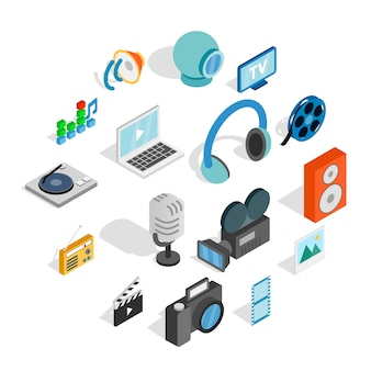 Zestaw ikon mediów, izometryczny styl 3d