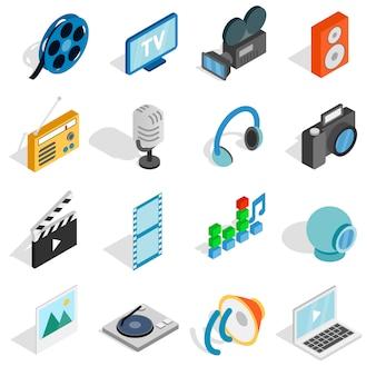 Zestaw ikon mediów izometryczny. uniwersalne ikony mediów do wykorzystania w interfejsie internetowym i mobilnym, zestaw elementów podstawowych mediów na białym tle ilustracji wektorowych