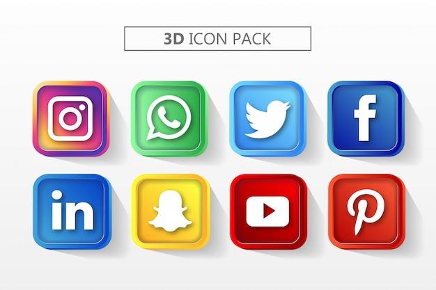 Zestaw ikon mediów społecznościowych 3d